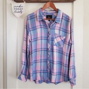 Rails. Hunter linen blend. pastel plaid classic